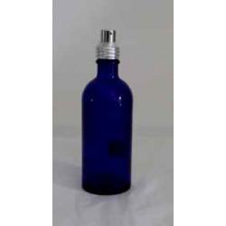 Lege blauwe glazen fles - met zilver spuit