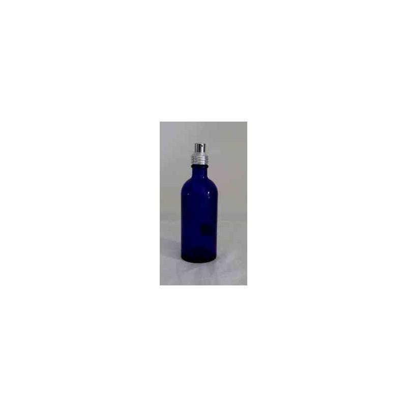 Flacon en verre bleuté  vide - avec spray argenté