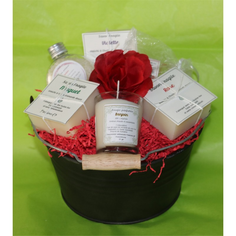 Natural cosmetics presented with a rose